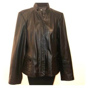 A.N.A. Fontana Lambskin Leather Racer Jacket L